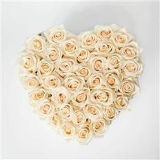 Medium Heart shape white roses